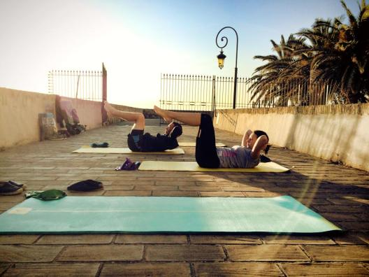"""Outdoor training in Antibes   Making the most of the early morning """"chest lift"""""""