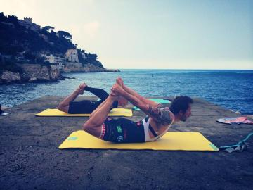 """Pilates for Cyclists in Nice   Rock climber and cyclist Harry achieving """"rocking prep"""""""