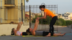 Outdoor training in Antibes   CREW Training with Suzi working on abdominal crunches