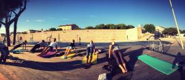 """Outdoor training in Antibes   Early risers: CREW doing """"back support"""" before work starts"""