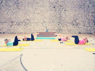 """Outdoor training in Antibes   Bluewater ladies achieving """"chest lift"""" on the mat"""