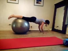 "CREW Pilates Studio   Rhian doing ""push ups"" on the ball"